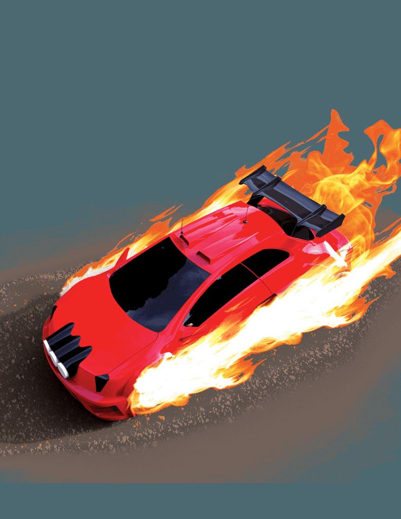 Ferrari in fire.