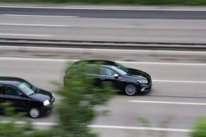 Car flashed by speed control radar.