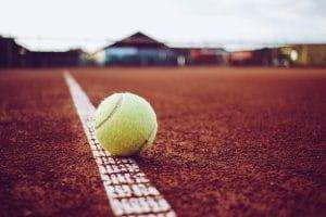 Tennis ball on the ground.